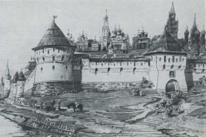 Architectural drawing D Sukhov, 1950. Feather, pencil, akvarel.arkhitekturny objects.