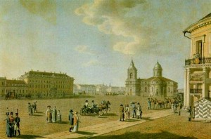 Isaakiyevskaya Square. 1800, Benzhamen Patersen's Water color.