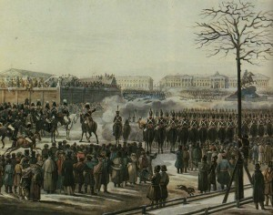Revolt on Senate Square in Petersburg on December 14, 1825. Artist K.Kolman. 1830th years.