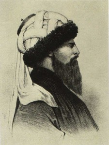 Shamil. Lithograph from Chavchavadze's original. 1858.