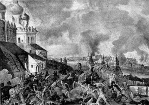 Fire of Moscow in 1812. Johann Loyents Rugendas's engraving of 1813.