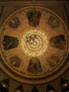 The ceiling of the auditorium is decorated with four medallions belonging to the Vienna artist