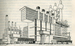 Ya.G.Chernikhova's composition with use of forms of reinforced concrete, metal and glass, the 30th years
