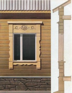 Window trim on the houses of timber