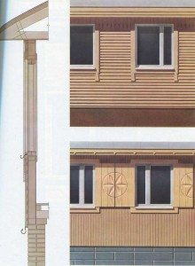 Window frames in prefabricated houses.