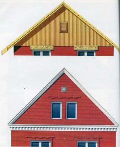 Gables of brick houses
