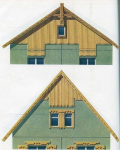 Gables of houses from concrete panels