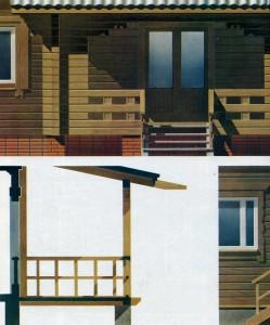 log houses.