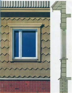 Window frames in houses, trimmed shingles.
