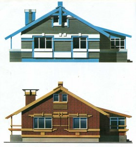 Options of facades of a house from a brick