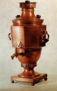 SAMOVAR. Forties of the 19th cent. Work of Rodion Kiselyov. Tula Copper. Ht. 56 cm. State Russian Museum