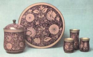 "Compote set. 1960s Painted by M Siniova. Tree pattern Ahokhlomskaya Rospis"" Factory, Semionov"