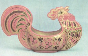 Cockerel-shaped scoop. 1959 Painted bv О. Bulganina. Ornamentation on gold ground Art Museum, Gorky