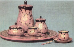 "Coffee set. 1970 Painted by E. Dospalova. ""Curly pattern Arts and Crafts Museum, Semionov"