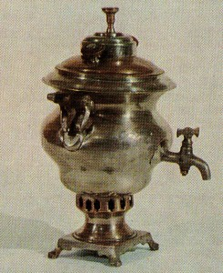 SAMOVAR. Early 20th cent. M. A. Gretsov's factory. Tula Nickel-plated. Ht. 26 cm. State Russian Museum