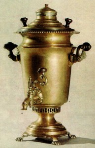 SAMOVAR. Second half of the 19th cent. Factory of Vorontsov Brothers. Tula Brass. Ht. 38 cm. State Russian Museum