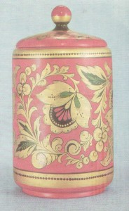 "Postavets container. 1959 Painted by O. Bulganina. ""Curly"" pattern Art Museum, Gorky"