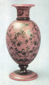 Vase. 1930s Painted bv I. Smlrnov. Grass pattern Arts and Crafts Museum, Semiunov