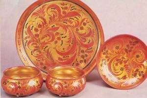 "OP Lushina. Set dumplings with ornament khokhloma ""grass""."