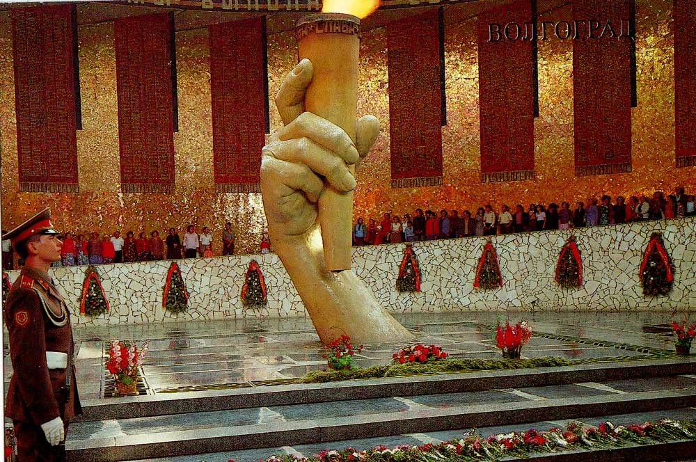 Eternal flame in a hall of Military glory on Mamayevom a barrow