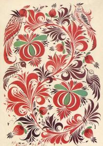 "SP Hilarious. Ornamental composition ""Birds of herbs."""