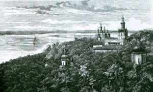 Kiev-Pechersk Lavra. Kind of long cave. An engraving of the late XIX century.
