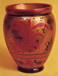 Vase with ornaments khokhloma grass