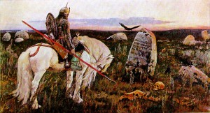 Vasnetsov (1848-1926). Knight at the Crossroads. 1882