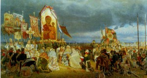 Prayer service at Borodino. Artist Zaitsev.