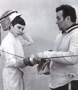 German Sweschnikow, mehrfacher Olympiasieger und elffacher Weltmeister im Florettfechten, mit seinem Sohn Michail