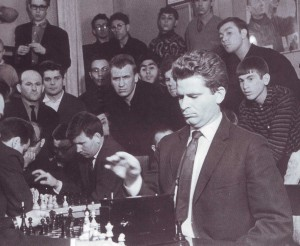 Boris Spassky, chess World Ex-Champion meeting the readers of Leninskaya Smena youth newspaper
