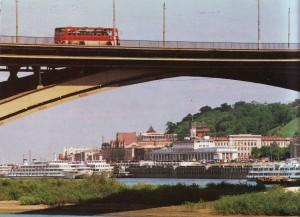 Nischni Novgorod. Ein Blick von der Oka auf den Kai