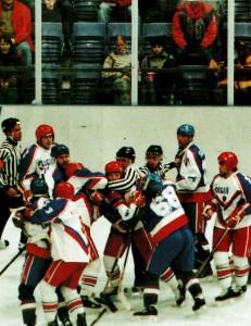 Lillehammer '94. Mannergesprach im Spiel Russland - Slowakia