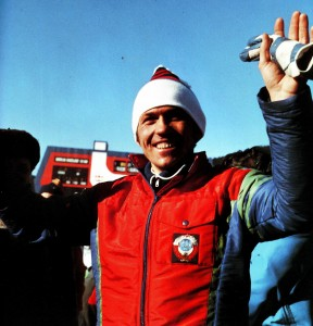 Nikolai Kruglov is rejoiced after having won the race