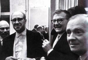 Von dem Konzert. M. Rostropowitsch und D. Schostakowitsch