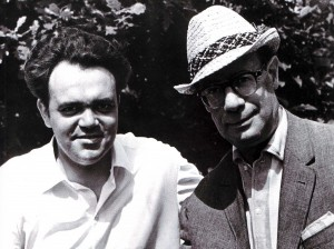 Keepsake photograph. Writer Leo Kassil and Nizhny Novgorod journalist Alexander Tsirulnikov, 1968