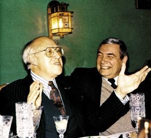 """Beim Empfang im """"Russischen Klub"""" M. Rostropowitsch und E. Sidorow, Russlands Kulturminister"""