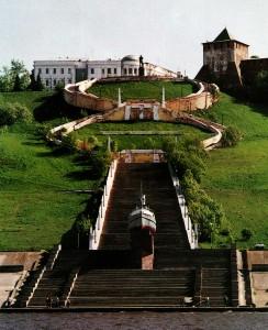 Die Tschkalow-Treppe. Ein Blick von der Wolga