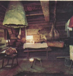 The interior of the hut