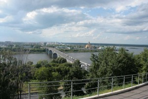 "Kanavinskiy Bridge - the first permanent bridge across the Oka River, located on the territory of Nizhny Novgorod. The original name - ""Oka"". Connects the upper, mountainous, with the lower part of the city, beyond the river."