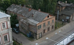 Wooden house of the 19th century. View from above.