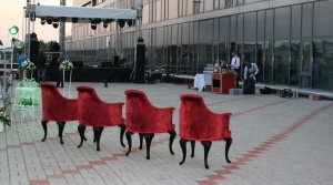 Exquisite furniture looks favorably on the street in good weather