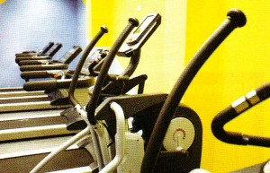 A bright yellow wall of the gym