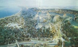 """Diorama of ancient Kiev X-XIII centuries."" (From left to right: Hem, Starokievskaya Mountain, Castle Hill (front pla ns), Potters Kozhumyaki, Kopyrev end). Artist AV Kazan. The State Historical Museum of Ukraine."