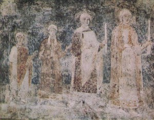 A fragment of group portrait of the family of Yaroslav the Wise. The composition is particularly valuable frescoes of St. Sophia Cathedral. It was severely damaged during the restoration of the XIX century. On the south wall murals over the butter pieces were written great martyrs, on the north wall - figures of saints. Clearing these frescoes carried out after the organization of the Sofia Reserve in 1934 - 1935 years.