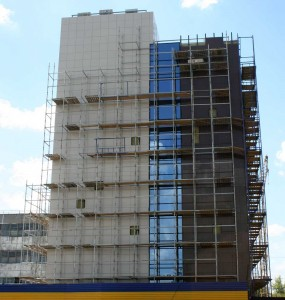 Construction of the building with a ventilated facade.