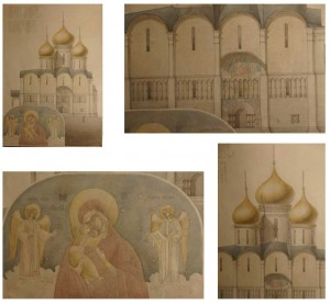 "Mozaichist Imperial Academy of Fine Arts of St. Petersburg Bystryakov. Drawing (Architecture), sketch mosaic ""of the Assumption Cathedral of the Moscow Kremlin."" Mixed media."