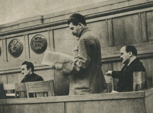 Stalin, Molotov, Mikoyan at the meeting of the Commission