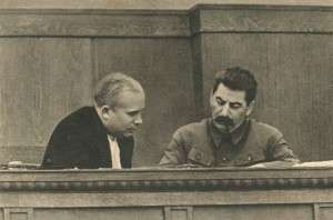 Stalin and Khrushchev in the session of the Presidium of the CEK of the USSR (January 1936)