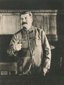 Stalin speaks at a meeting of the Commission for drafting the sample Constitution at the session of the Commission on development of the Exemplary Statute of the agricultural artel